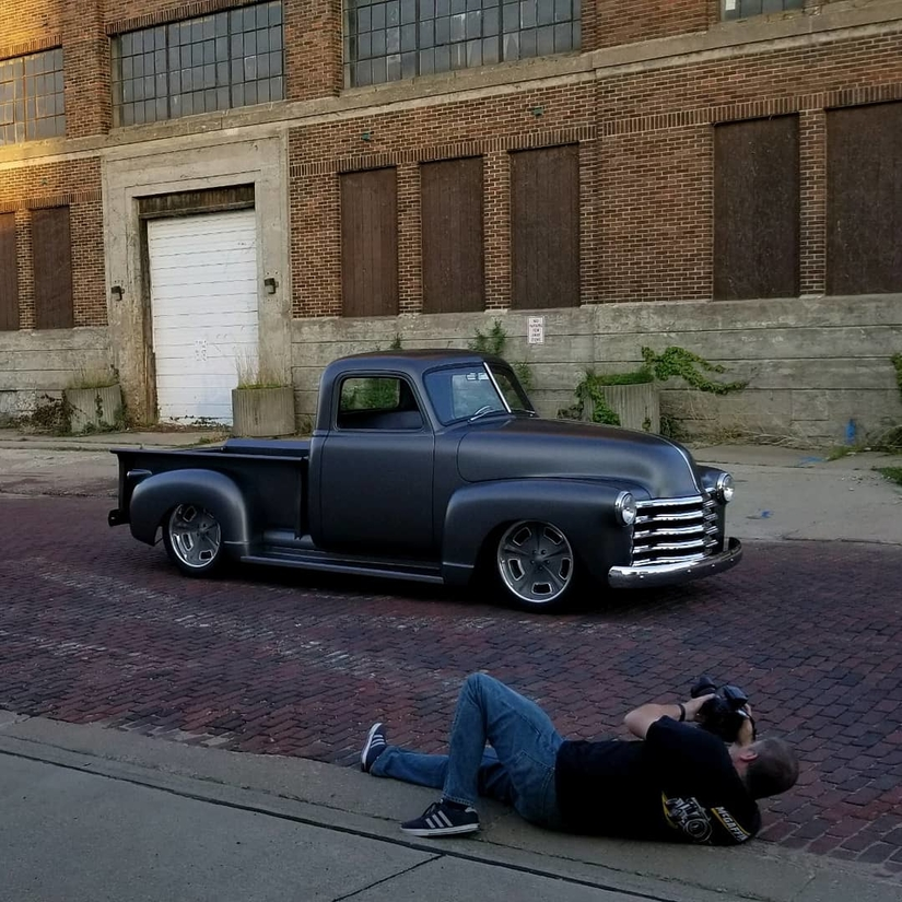 1949 Chevy (grandpa's truck) photo shoot downtown Cedar Rapids