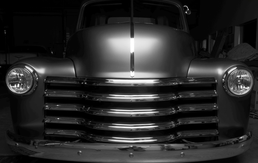 Front grille shot of 1949 Chevy Truck